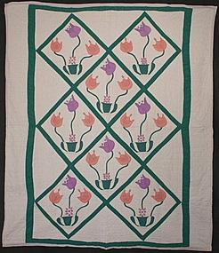 Pots of Tulips Quilt: Circa 1930; Pennsylvania