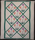 Pots of Tulips Quilt: Circa 1930; Pennsylvania
