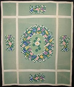 Postage Stamp Floral Medallion Quilt: Circa 1930; Iowa