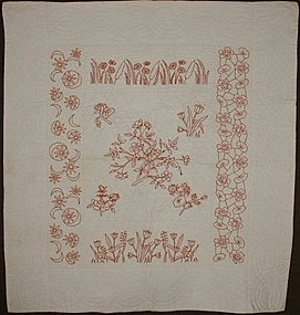 Embroidered Botanical Crib Quilt: Circa 1900; Pa.