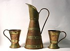Hector Aguilar Copper Pitcher and Mugs