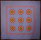 Mariner's Compass Quilt: Circa 1880; Lancaster Co.,Pa.