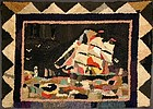Sailing Ship Hooked Rug: Circa 1920; Pennsylvania