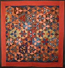Tumbling Blocks/ Stars Quilt: Circa 1890; Pennsylvania