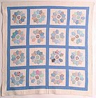 Dresden Plate Quilt with Shirting Fabrics, Ca 1930