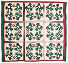 Wreaths with Nine Patches Quilt, Ca 1870