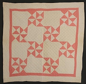 Pinwheels Doll Quilt: Circa 1920; Pennsylvania