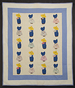 Sunbonnet Sue and Overall Sam Crib Quilt: Ca. 1930; Pa.