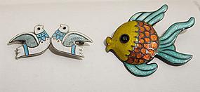 Margot de Taxco Enamel on Sterling Pins