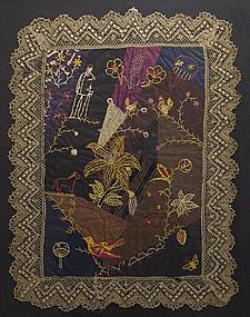Victorian Crazy Doll Quilt: Circa 1890; Maryland