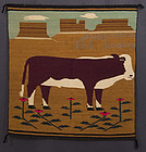 Navaho Woven Pictorial Rug with Cow