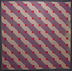 Mennonite Log Cabin Quilt: Circa 1880; Pennsylvania