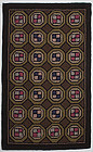 Four Patch in Hexagons Hooked Rug: Circa 1930