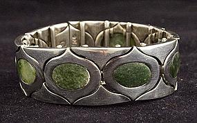 Antonio Pineda Silver Puzzle Bracelet with Mexican Jade