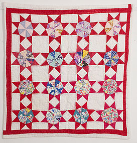 King's Star Crib Quilt: Circa 1930