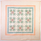 Rose of Sharon Applique Quilt: Circa 1930