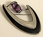 Sigi Pineda Boomerang Brooch with Amethyst