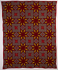 Touching Stars Quilt with Embroidery: Ca. 1910; Pa.