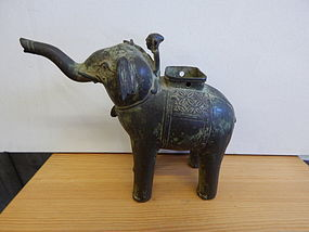 14th C. Bronze Vessel Elephant  with Driver from Vietnam