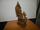 Large 18th C. Indian Gilt Bronze Figure of Ganesh