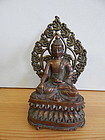 18th C Copper Buddha from Nepal