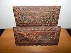 A Pair of 17th C.Wood Book Covers from Nepal