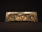 Antique Carved and Painted Scenic Wood Panel