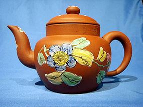Globular Straight Neck Enamel Decorated Yixing Teapot