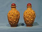 Pair Moulded Porcelain Snuff Bottles 100 Luohans