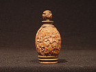 Carved Walnut Snuff Bottle Luohans, Bamboo and Flowers