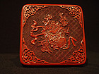 Small Square Carved Lacquer Box with Flower Basket