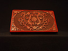 Carved Lacquer Box Rectangular with Opposing Dragons