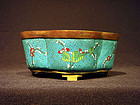 Cloisonne Quatrefoil Bulb Bowl with Prunus Designs
