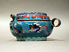 Cloisonne Kendi Type Teapot with Dragon Designs