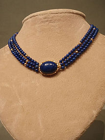 Lapis and Gold 3 Strand Bead Necklace