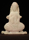 4 Inch Lavender, Green and White Seated Guanyin Plaque