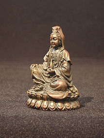 Small Vintage Bronze Seated Guanyin