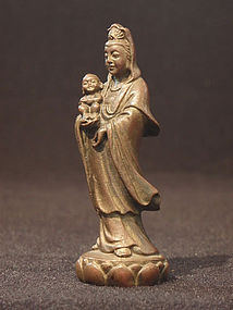 Small Vintage Bronze Standing Guanyin With Child