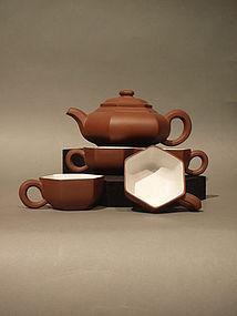 Classic Hexagonzal Yixing Teapot and Cups Wang Shigeng