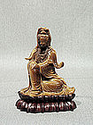 Tiger Eye Carving of a Seated Guanyin