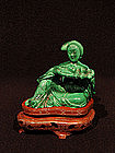 Malachite Seated Lady with Tray of Peaches