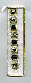 Vintage Bracelet with Black Onyx Stones