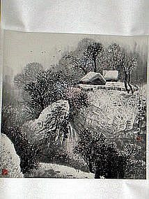 Chinese Ink and Color Winter Painting by Zhao Jingyan