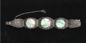 Chinese Vintage Silver Filigree Jadeite Bracelet