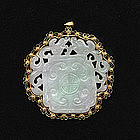 Elaborately Mounted Jadeite Pendant 14k gold