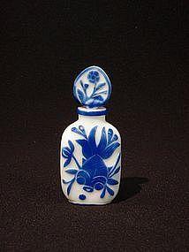 Rare Peking Glass Perfume Bottle Blue Overlay on White