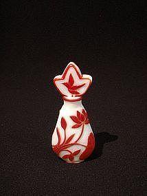 Rare Peking Glass Perfume Bottle Red overlay on White
