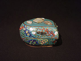 Chinese Cloisonne Peach Form Box Jade Bats