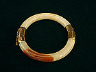 Jade Bangle Bracelet Pale Celadon with Rust 14K