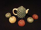 Yixing Zi Sha Pineapple Teapot Apple Pear Fruit Cups